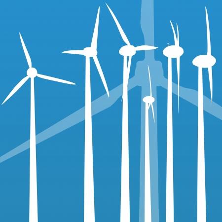 generators: Wind electricity generators vector background for poster