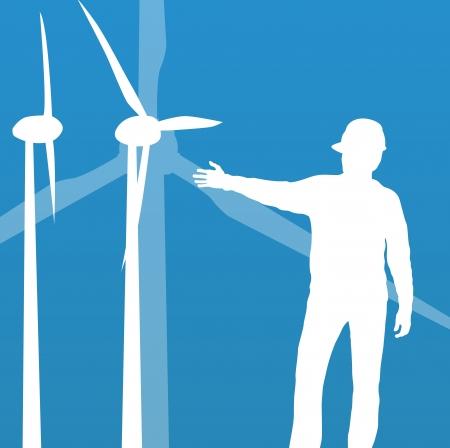 Wind electricity generators vector background for poster Vector