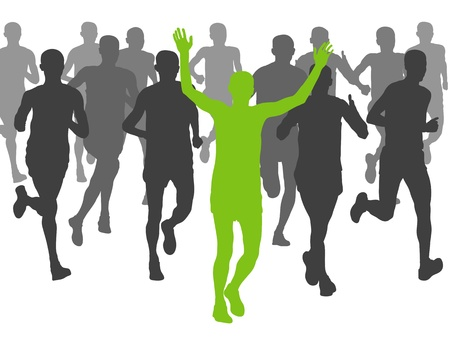 Marathon runners vector background for poster Vector