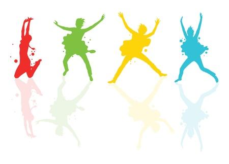 danse contemporaine: Danser les filles avec des taches color�es et �claboussures sur fond vecteur r�flexions