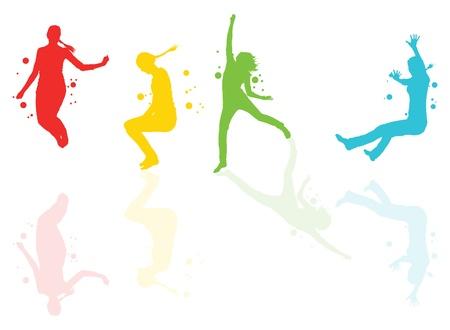 clubbers: Bailarinas con manchas de color y toques con fondo vector reflexiones Vectores