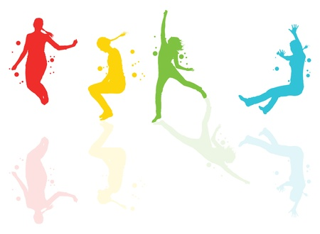 merriment: Dancing girls with colorful spots and splashes with reflections vector background