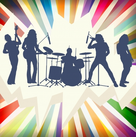 guitariste rock: Silhouettes groupe de rock concert �clat� vecteur de fond Illustration