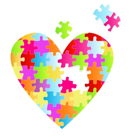 Puzzle heart vector background for poster Vector
