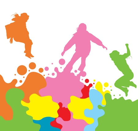 Girls, kids jumping vector silhouette set background for poster Vector