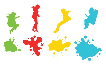 hands in the air: Girls, kids jumping vector silhouette set background for poster