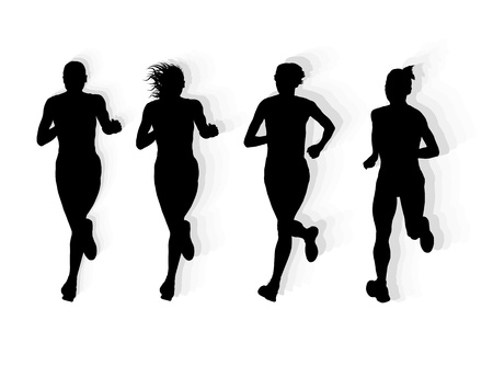 female athletes: Marathon runners vector background for poster