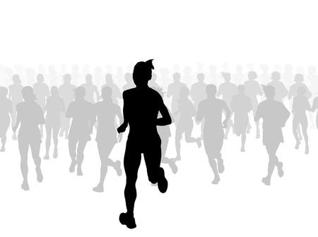 donna che corre: Maratona di corridori vettore sfondo per poster