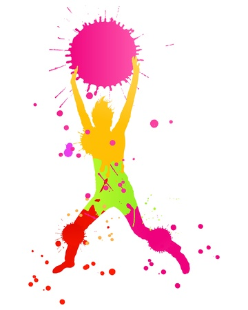 Colorful bright ink splashes and happy person for poster or card Stock Vector - 14701118