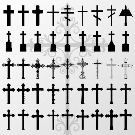 jesus en la cruz: Vintage cruces del cementerio viejo y la cruz cementerio de siluetas colección detallada ilustración vectorial de fondo