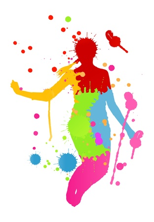 teen silhouette: Colorful bright ink splashes and happy person for poster or card