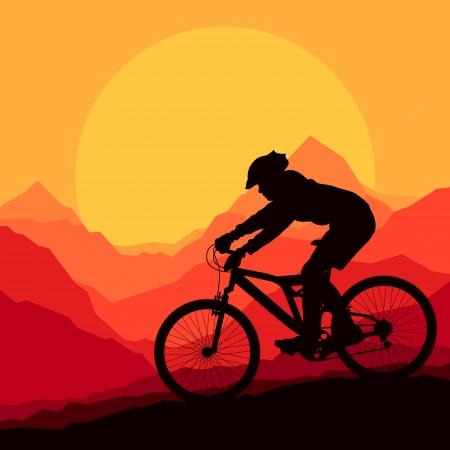 bicicleta vector: Montaña ciclista en la naturaleza salvaje montaña ilustración vectorial paisaje de fondo