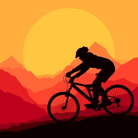 mountain bicycle: Mountain bike rider in wild mountain nature landscape background illustration vector