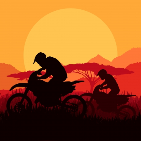 trail bike: Motorbike riders motorcycle silhouettes in wild mountain landscape background illustration vector