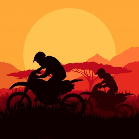 sujeira: Silhuetas motociclistas de moto na montanha selvagem paisagem de fundo ilustra