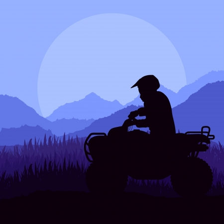 motocross riders: All terrain vehicle motorbike riders in skyscraper city landscape background illustration vector