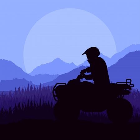 quad: All terrain vehicle motorbike riders in skyscraper city landscape background illustration vector