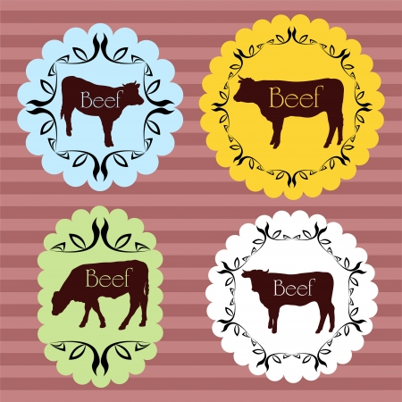 beef cattle: Beef and milk cattle farmers market food labels illustration collection background vector Illustration