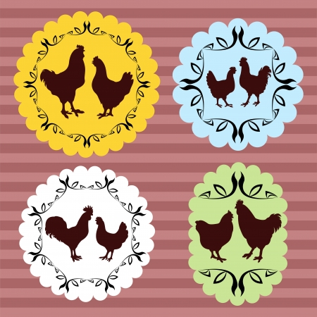 Farm chickens egg and meat labels illustration collection vector background Vector