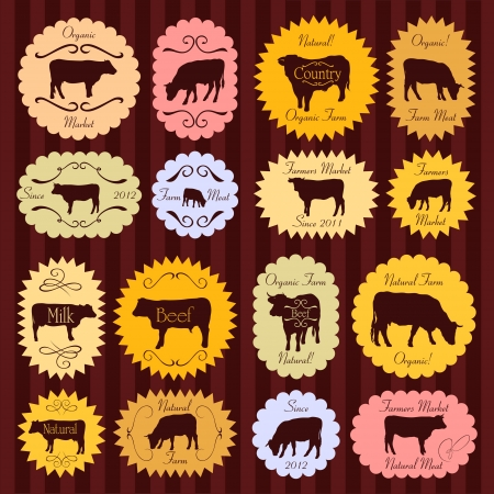 domestic cattle: Beef and milk cattle farmers market food labels illustration collection background vector Illustration