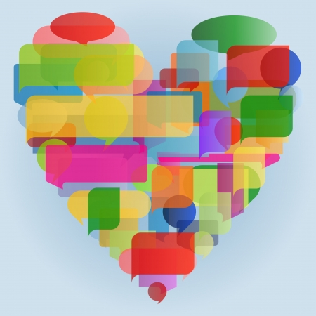 Heart made of colorful speech bubbles concept illustration background vector Vector