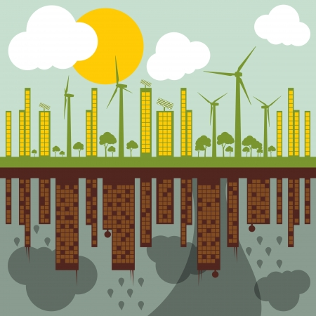 energy conservation: Green ecology city illustration against pollution concept background vector