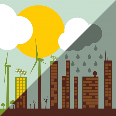 acid rain: Green ecology city illustration against pollution concept background vector