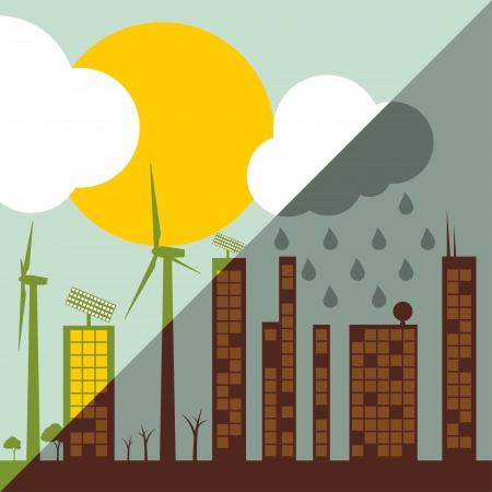 kwaśne deszcze: Ilustracja miasto ekologia przeciw koncepcji wektora tła zanieczyszczeń