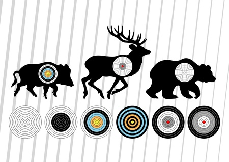 deer hunting: Shooting range wild boar, deer and bear hunting targets silhouettes illustration collection background vector