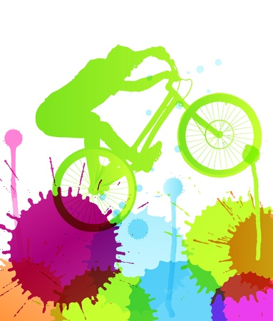 Mountain bike rider in wild mountain nature landscape background illustration vector Vector
