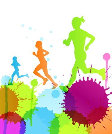 outdoor fitness: Runners abstract color splash vector background for poster