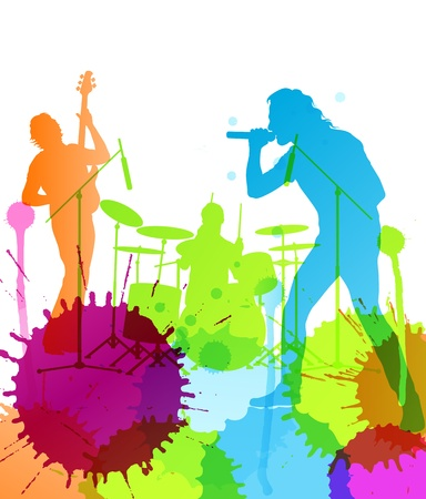 rock   roll: Rock pop band colorful spots and splash vector background Illustration