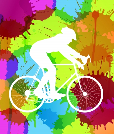 Cyclist with his road bike colorful spots and splash vector background Vector