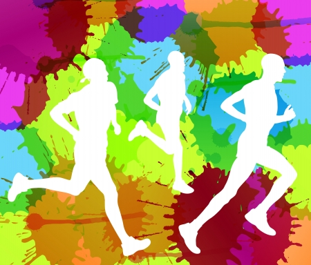 Runners abstract color splash vector background for poster Stock Vector - 15272084