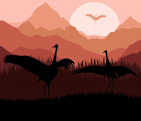 Crane in sunset vector background for poster Stock Vector - 15271499