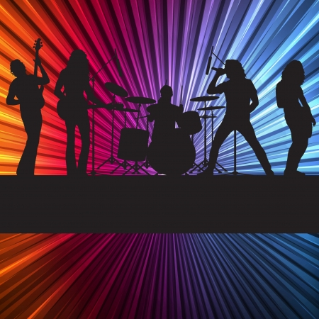 punk: Rock band vector background with neon lights for poster
