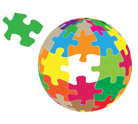 missing puzzle piece: Colorful globe puzzle vector background for poster