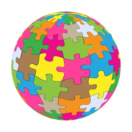 Colorful globe puzzle vector background for poster Vector