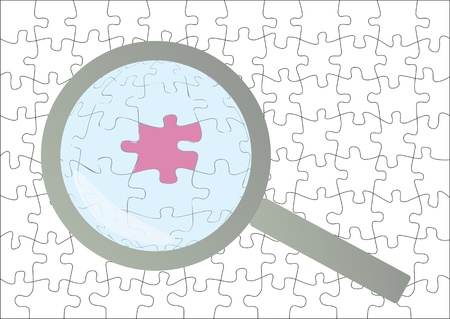 Solution concept with magnifying glass and puzzle piece vector background Vector