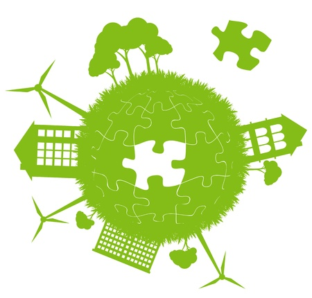 Environmental and ecology earth globe alternative energy vector concept background with puzzle Vector