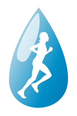 freedom couple: Running woman liquid in water drop vector background concept