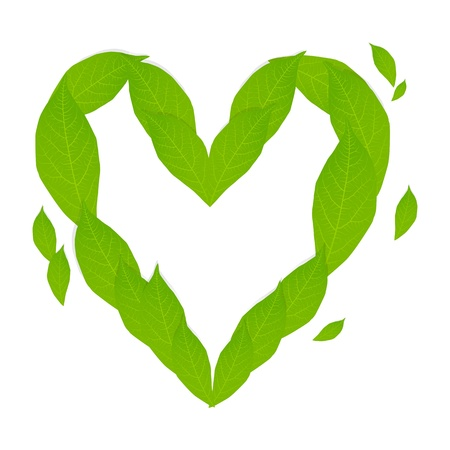 Ecology concept with heart of green leaves Stock Vector - 15272155