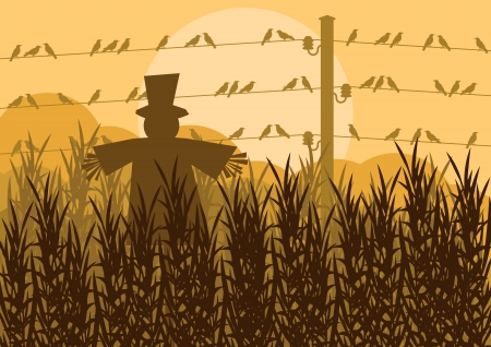 corn fields: Scarecrow in corn field autumn countryside landscape background illustration Illustration
