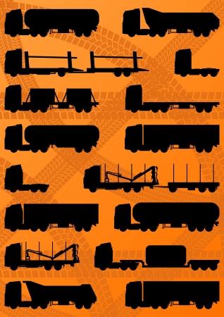 convoy: Camion autostrada dettagliata, rimorchi e cisterne di petrolio modificabile sagome illustrazione vettoriale raccolta sfondo Vettoriali