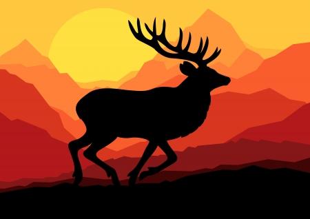 incendio bosco: Cervo in selvaggia foresta natura, vettoriale illustrazione paesaggio di sfondo
