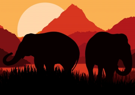 Elephant family in wild Africa mountain nature landscape background illustration vector Vector