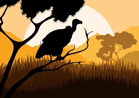 Buitre caza de aves silvestres en el vector paisaje naturaleza ilustración de fondo