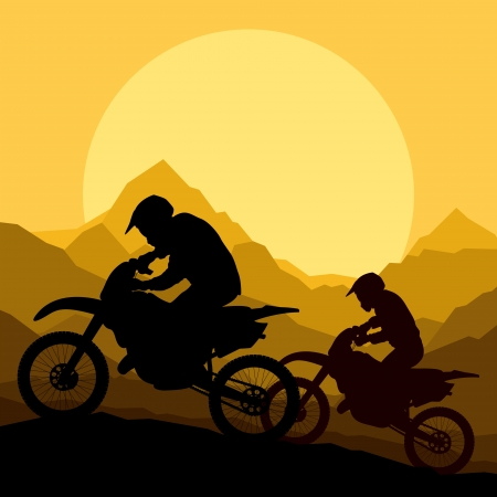 motocross riders: Motorbike riders motorcycle silhouettes in wild mountain landscape background illustration vector