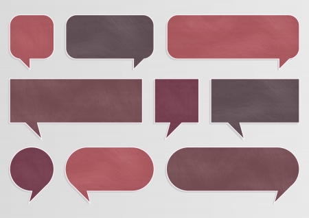 speech bubbles: Chalkboard organic ecology speech bubbles and balloons illustration collection background vector