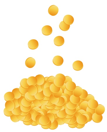 Golden coins dropping down on pile vector background Vector